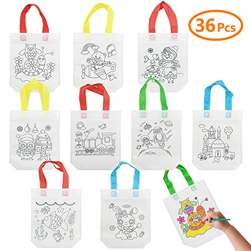 SIBOSEN 36 PCS DIY Colorful Graffiti Party Goodie Bags,Kids Tote Bag for Halloween Candy Bags,Christmas Bag, Donate Bags,Festive Gifts, Birthday Gifts,Art Theme Party -