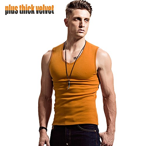 Cotton Velvet Vest (XShing Tank Top V-neck Wide Shoulder Warm Cotton Velvet Vest Male Tight Sports)