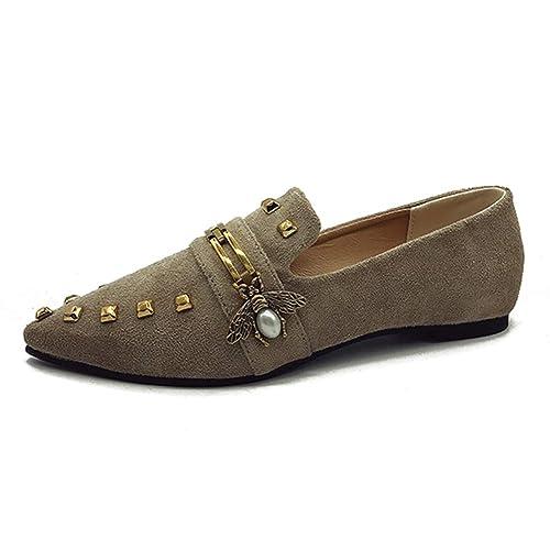 Mujer Mocasines Hebilla Cadena Remache Zapatos OtoñO Flock Punta Estrecha Mulas Casual Mujer Suave Zapato Plano Sin Cordones: Amazon.es: Zapatos y ...