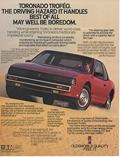 Magazine Print Ad: Red 1987 Oldsmobile Toronado Trofeo,