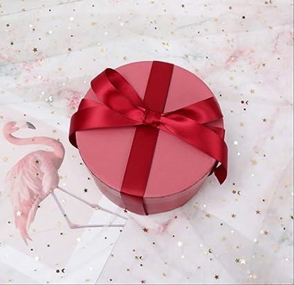 Caja simple simple Mini cartón redondo Caja de flores de papel Día de San Valentín Tienda de flores Fiesta de regalo Caja de regalo Decoración del banquete de boda Rojo: Amazon.es: Oficina
