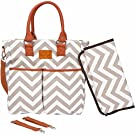 Diaper Bag by Mila Millie - Chic Chevron Print Design Durable Cotton Canvas Tote Plus Matching Baby Changing Pad