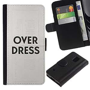 EuroTech - Samsung Galaxy S5 V SM-G900 - Over Dress Fashion Clothes Grey Text - Cuero PU Delgado caso Billetera cubierta Shell Armor Funda Case Cover Wallet Credit Card