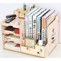 JX&BOOS Bookshelf,Wooden desktop storage box office storage rack data file holder clip pen holder-C 36.5x26.7x25.6cm(14x11x10)