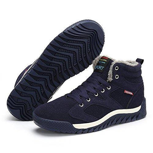 Stivaletti da Sportive Piatto Neve Uomo Scarpe Caloroso Blu Caviglia Invernali SAGUARO Allineato Stivali Boots Pelliccia SEwqpWvP7