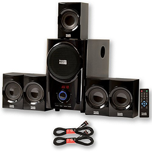 Acoustic Audio AA5160 Home Theater 5.1 Speaker System with FM Tuner and 2 Extension Cables