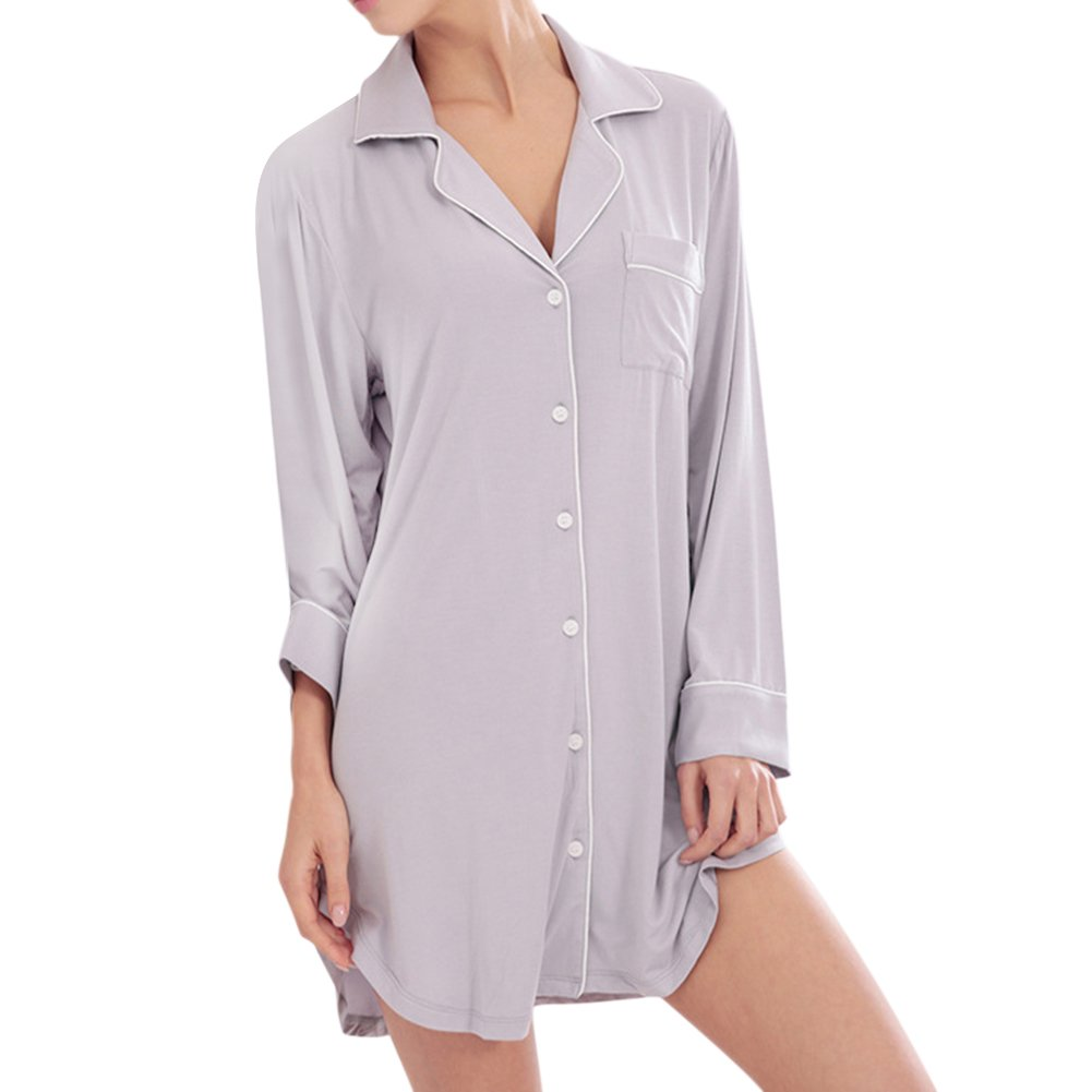 iBaste Camicia da notte Dormire camicia Scollo a V Manica lunga S-XL