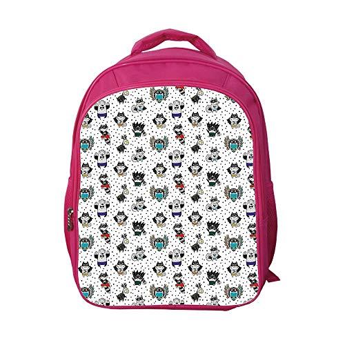iPrint School Bags Kid's Backpacks Fashion,Superhero,Animal Owl Dear Fox Cat Penguin Raccoon Bear in Superhero Costumes Print,White Seal Brown,3D Print Design. -