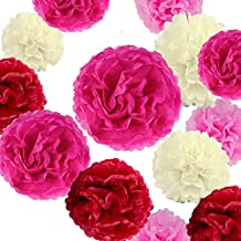 """VIDAL CRAFTS 20 Pcs Party Tissue Paper Pom Poms Kit (14"""", 10"""", 8"""", 6"""" Paper Flowers) for Wedding, Birthday, Baby Shower, Bachelorette Party - Red, Fuchsia, Rose Pink, Ivory"""