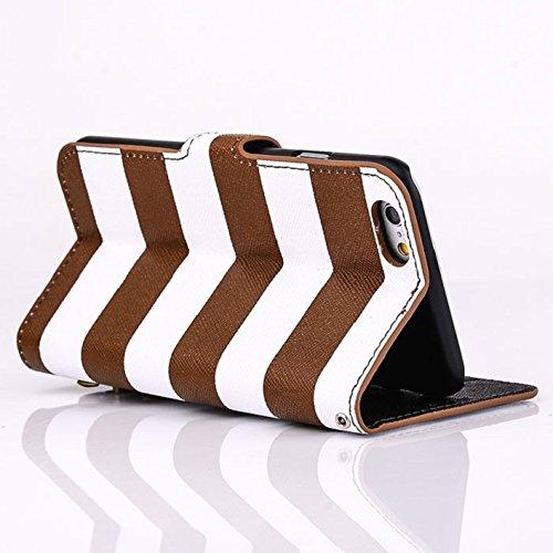 Towallmark(TM)Stripes Anchor Rudder Wallet Flip Case Cover For iPhone 6 (Brown)