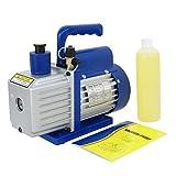 F2C Single Stage 1/3HP 5CFM Rotary Vane Deep Vacuum Pump HVAC AC Air Tool R134 R410a, 1/4'' Flare Inlet Port