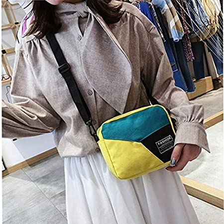 LCLiang Canvas Bag Female Fashion Korean Version of The Color Matching Small Square Bag Student Wild Messenger Bag Color : Black