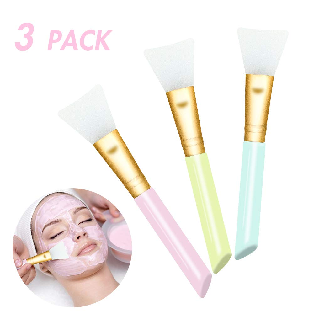 3 PCS Silicone Face Mask Brush Tool Kit,Mask Beauty Tool Soft Silicone Facial Mud Mask Applicator Makeup Brush Hairless Body Lotion And Body Butter Applicator Tools
