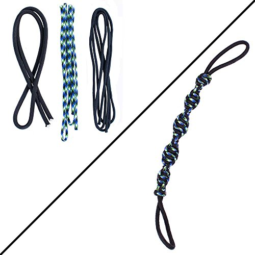 Rope Fetch Tug - PARACORD PLANET Dog Toy Kit - DIY Dog Tug Toy - DNA or Knotted Rope Tug Dog Toy - Extreme Durability - Made in USA Cord (DNA - Black & Python)