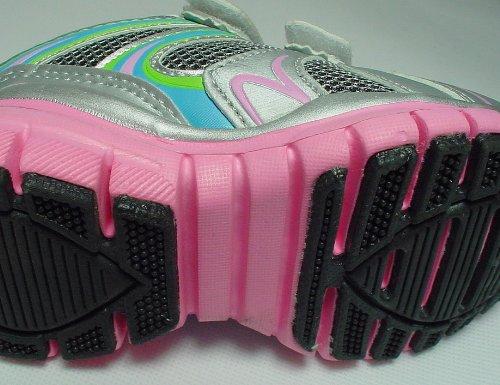 Unbekannt - Zapatillas de running para niña - - Luz plata/azul/rosa