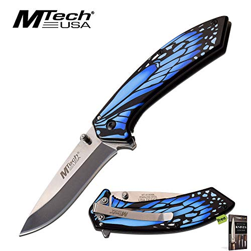 Spring-Assist Folding Knife | Mtech Blue Monarch Butterfly Wing Tactical EDC Knife + Free eBook by SURVIVAL STEEL