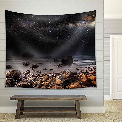 Month on a Background Star Sky Reflected in the Sea Fabric Wall Tapestry