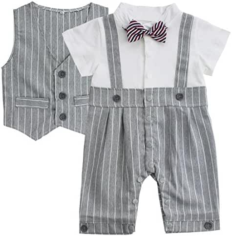 FEESHOW Baby Boys' Cotton Gentleman Romper Vest with Bowtie Outfit Set