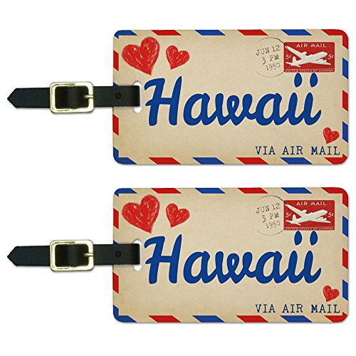 Graphics & More Air Mail Postcard Love for Hawaii Luggage Suitcase Carry-on Id Tags, White