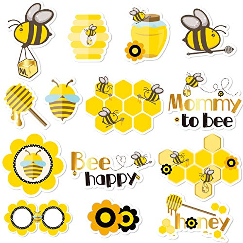 - NICROLANDEE Bee and Honey Baby Shower Photo Booth Props - 14 Pack Bumblebee Theme Party Favors Supplies Photobooth Props Kit For Baby Birthday Gender Reveal Party Decor