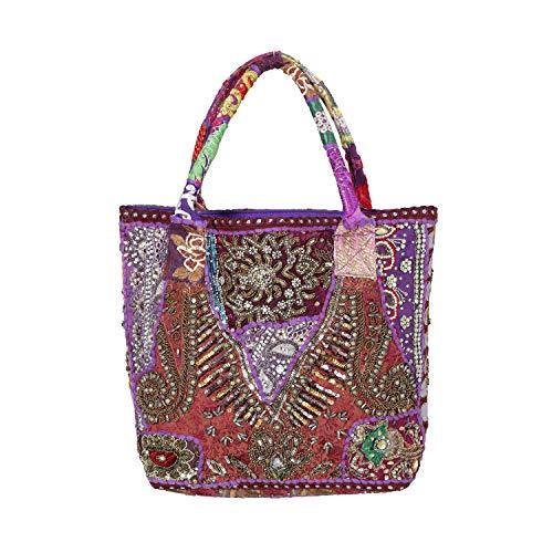 - Handicraft-Palace Indian Banjara Shoulder Bag Vintage Hobo Beaded Embroidery Bag (Purple)