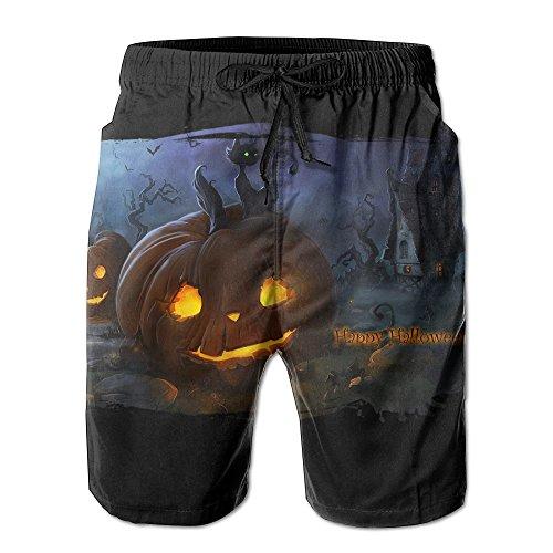 Big Boy Quick Dry Halloween Cat Pumokin Beach Shorts Swim Trunks Surf Board Shorts (Les Activites De L'halloween)