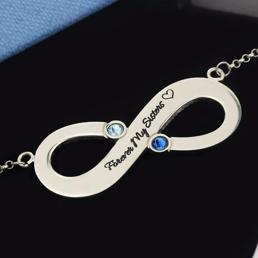 Junmei 925 Sterling Silver Personalized Infinity Name Necklace with Birthstone,Engraved Words//Text//Name Necklace Pendant for Women