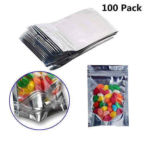 100 Pack Resealable Mylar Bags-Smell Proof Pouch Aluminum Foil Packaging Plastic Ziplock Bag,Food Safe Small Mylar Storage Bags For Bulk Candy,Cookies,Snack Food,Jewelry,Pill,2.8x5.1inch(Clear Silver)
