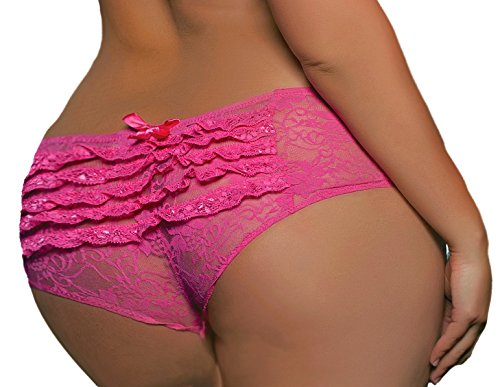 Lacy Line Plus Size Sexy Open Crotch Ruffled Back Floral Lace Panties (1x/2x,Pink)