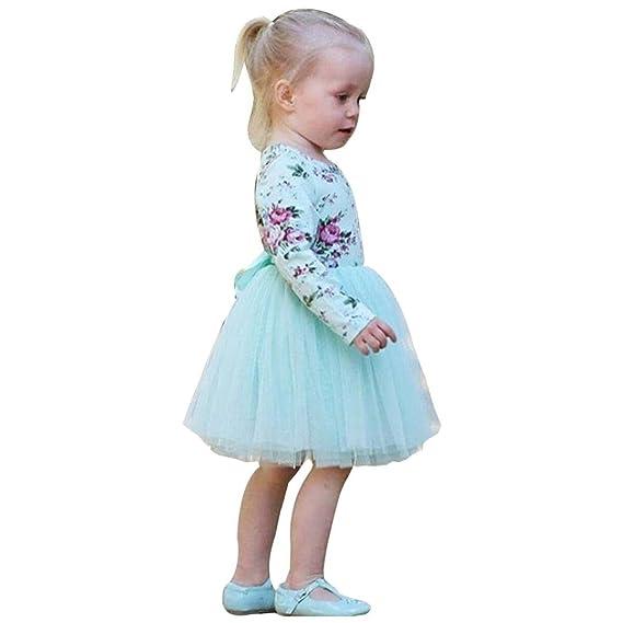 Vestido de Niña,Sonnena Floral Vestido de Princesa Vestido Bautizo Bebé Niñas Vestidos de Manga