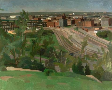 'Wilbur Niewald,Kansas City,View Of The West Bottoms,1989' Oil Painting, 8x10 Inch / 20x25 Cm ,printed On High Quality Polyster Canvas ,this High Quality Art Decorative Prints On Canvas Is Perfectly Suitalbe For Gift For Relatives And Home Decoration And (Costume Rental Kansas City)