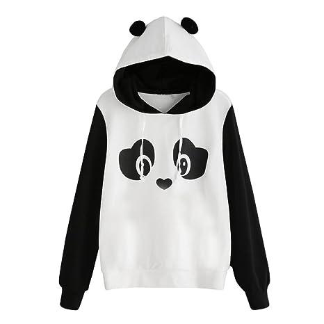 Sudadera Mujer koly Long® Hot Sale. mujeres elegante Panda Caricatura Sudadera con capucha Otoño