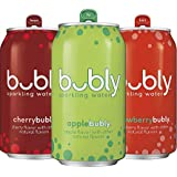 Bubly Sparkling Water 3 Flavor Variety Pack, Apple/Cherry/Strawberry, 12oz Can, 18 Count