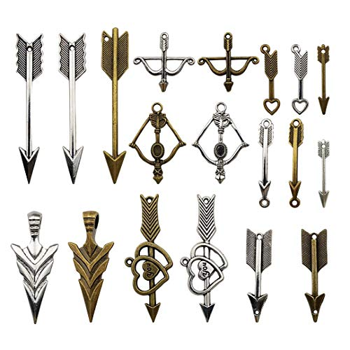 - 100g Bow And Arrow Charms Collection - Antique Silver Bronze Bow And Sword Cupid's Love Crossbow Metal Pendants for Jewelry Making DIY Findings (HM21)