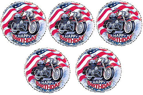 5 Motorcycle Balloon Set | Foil Happy Birthday Party Balloons for Parties with Biker, Dirt Bike, Motorcross, ATV Theme | By Burton And Burton -
