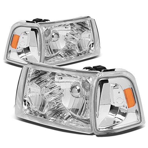 For Ford Ranger 4Pcs Chrome Housing Amber Corner Headlight+Corner Lights Kit Replacement