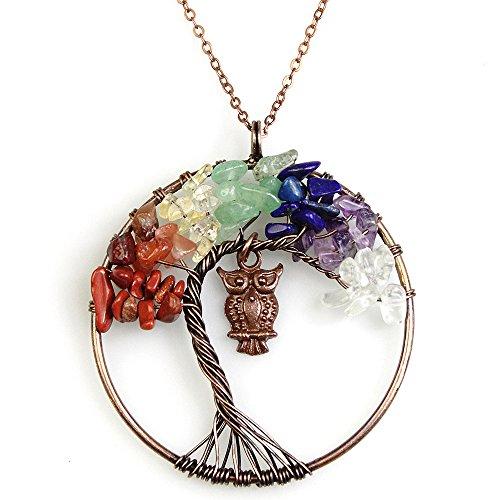 BAYUEBA Tree of Life Copper Owl Pendant Necklace Multi-Color Chakra Gemstone ()