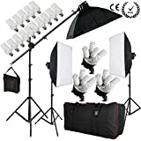 BPS 2850W Photo Studio Softbox Light Kit - 15x 190W Daywhite Bulbs + 3x 50x70cm Softboxes + 3x E27 5-Socket Light Heads + 2m Light Stand + 2.8m Softbox Boom Stand Kit + Boom Arm Support + Carry Bag
