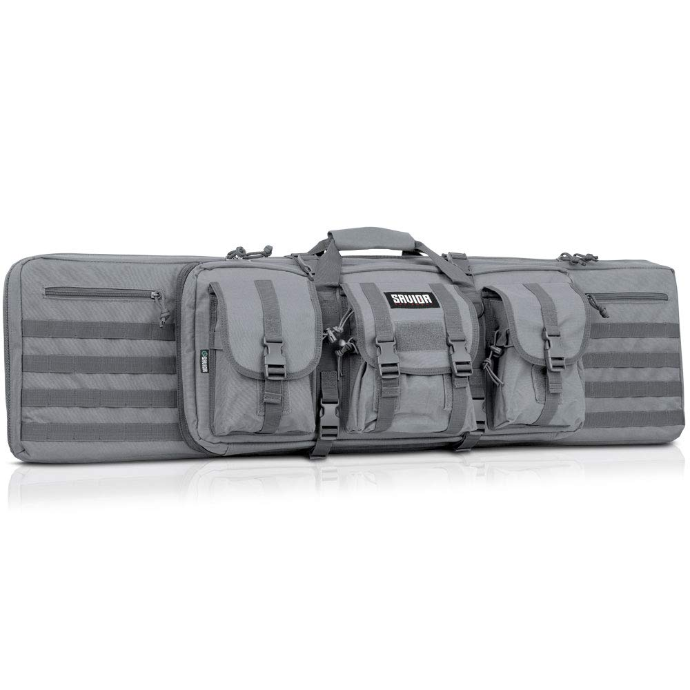 Savior Equipment American Classic Tactical Double Long Rifle Pistol Gun Bag Firearm Transportation Case w/Backpack - 55 Inch Ash Gray by Savior Equipment