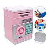 Eflar Code Electronic Money Bank,Mini ATM Coin Saving Banks,Coin Saving Boxes,Toys Gifts Birthday Gifts ATM Bank for Kids - Pink