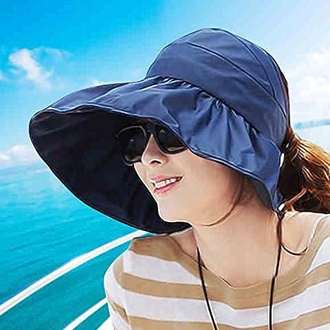 Hyun times Hat summer hat summer summer woman ladies anti-ultraviolet big along the beach sunscreen folding canopy ( Color : Dark blue (The Middle Season 1 2 3 4)