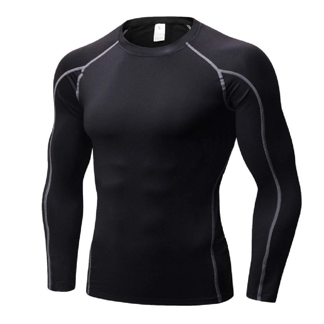 Frieed Men Long Sleeve Baselayer Compression Workout Training T Shirts Tee
