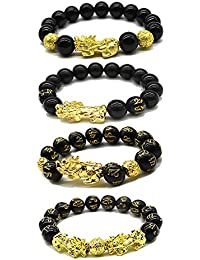 4Pcs 8-12mm Hand Carved Mantra Stone Bracelet with Pi Xiu/Pi Yao Attract Wealth and Good Luck Brave Charms Tiger Eye Bracelets