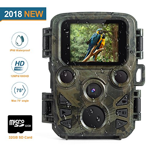 "FLAGPOWER Mini Trail Camera, 12MP 1080P Hunting Game Camera, 0.45s Motion Wildlife Camera with 32 GB TF Card 60ºPIR Sensor Infrared Night Vision,2.0""LCD Display, IP66 Waterproof by FLAGPOWER"
