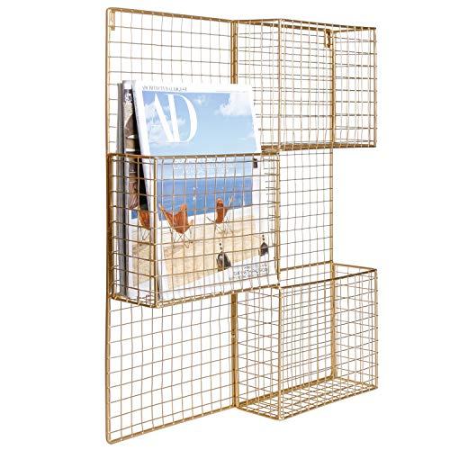 - MyGift 3-Compartment Modern Brass Metal Mesh Wall Mounted Magazine Rack
