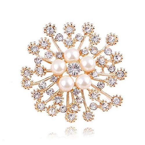 Pin Brooch Floral Bouquet - YOUYUZU Golden Elegant Pearl Floral Brooch Pins for Women Bouquet Flower Wedding Crystal Brooches