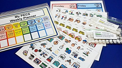 Autism Weekly Planner Visual Schedule Kit - 175 PECS Symbols - Velcro Dots Included - Autism Visual Tool