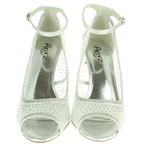 Mujer Señoras Diamante Noche Boda Fiesta Paseo Nupcial Tacón alto Peep toe Sandalias Zapatos tamaño Plata