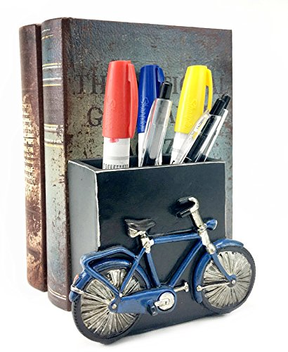 Bellaa 21420 Bicycle Pencils Holder Office Desk Pen Organizer Bookshelf Decor