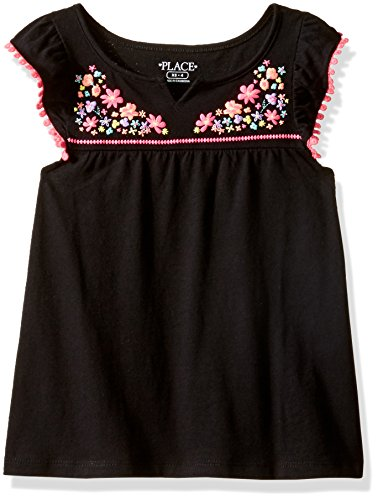 The Children's Place Little Girls' Embellished Flutter Sleeve Tee, Black, S (5/6)